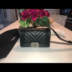 Chanel small chevron boy bag w ruthenium hardware